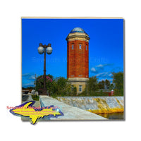 Michigan Made Drink Coasters Manistique Historical Water Tower Upper Peninsula Gifts & Collectibles