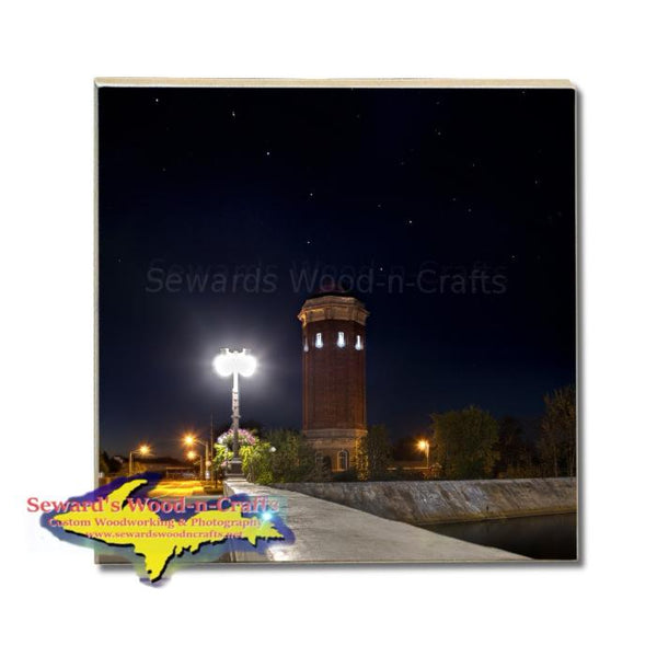 Michigan Drink Coasters Manistique Historical Water Tower Upper Peninsula