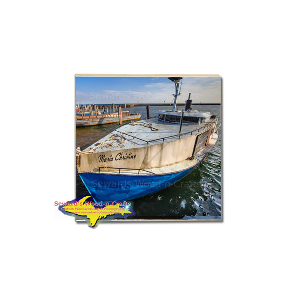 Photo of a Whitefish Bay fishing boat on a Michigan coaster