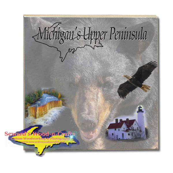 Michigan Made Drink Coasters & Trivets Michigan's Upper Peninsula Black Bear