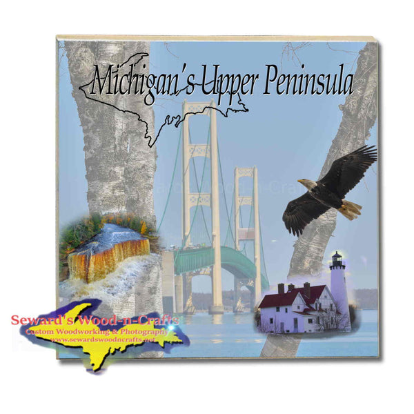 Michigan Made Drink Coasters Michigan's Upper Peninsula Mackinac Bridge