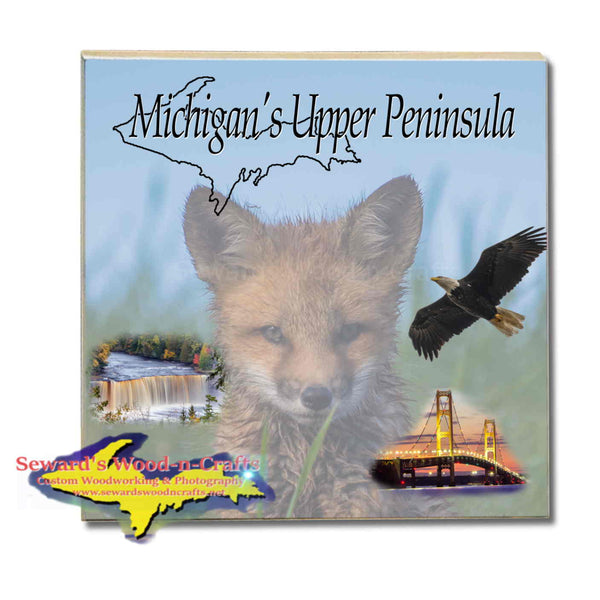 Michigan Made Drink Coasters Michigan's Upper Peninsula Red Fox