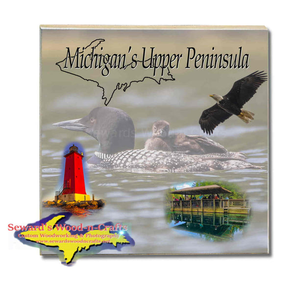 Michigan Made Drink Coasters & Trivets Michigan's Upper Peninsula Loon And Baby Loon