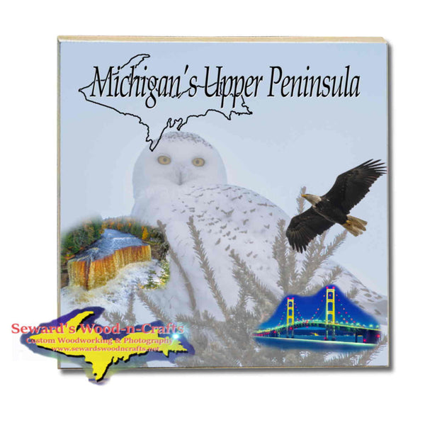Michigan Made Coasters & Trivets  Michigan's Upper Peninsula Snowy Owl