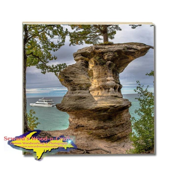 Chapel Rock Pictured Rocks Photos, Gifts, & Collectibles Michigan Made Drink Coasters