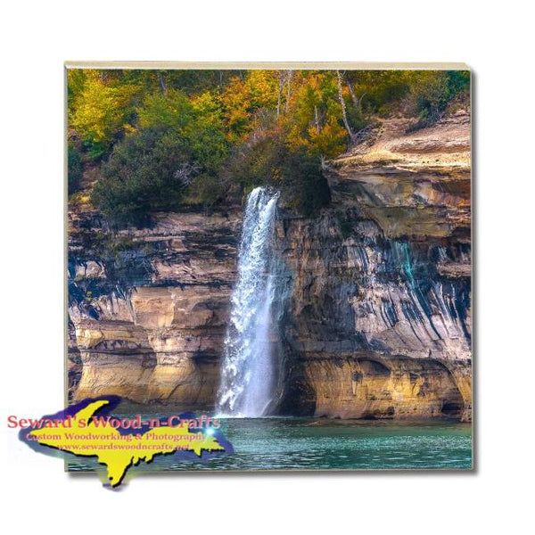 Drink Coasters Spray Waterfalls Pictured Rocks Michigan Made Gifts & Collectibles Home Decor