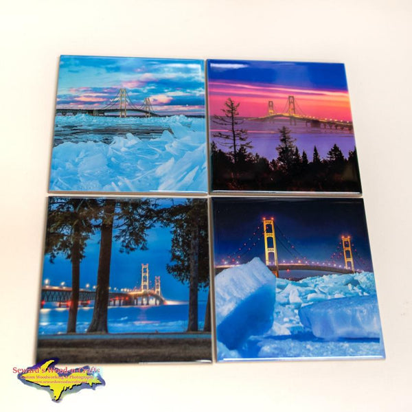 Michigan Made Coaster Set Blue Ice Mackinac Bridge