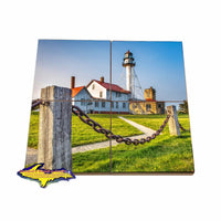 Michigan Coasters Puzzle Set of Lighthouse Whitefish Point Unique Yooper gifts or collectables