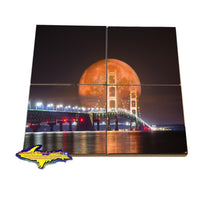 Michigan Coasters Puzzle Set Mackinac Bridge Full Blood Wolf Moon Digital Art (Composite Image)