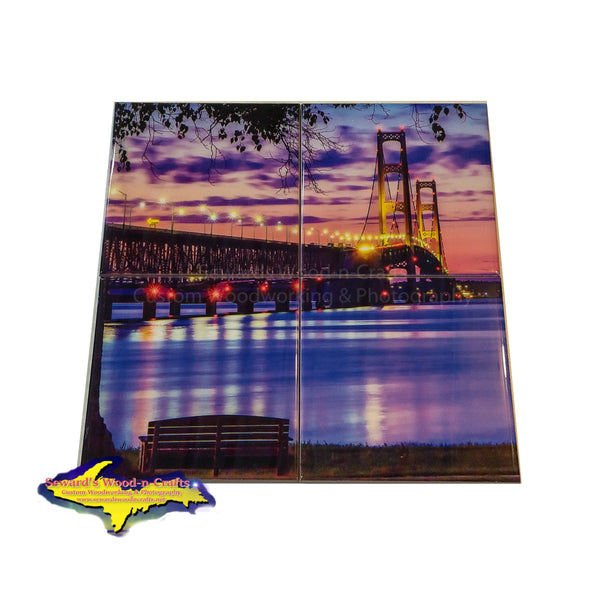 Michigan Coasters Puzzle Set  Mackinac Bridge on photo tiles