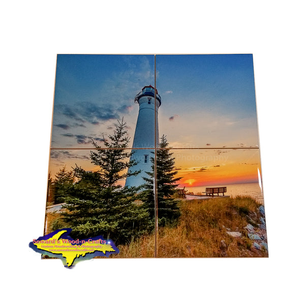 Michigan Coasters Lighthouse Crisp Point Sunset On Lake Superior