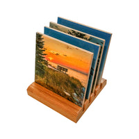 Michigan Coasters Lighthouse Crisp Point Sunset On Lake Superior With Wood Base