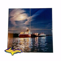 Great Lake Freighter Roger Blough Photo Four Piece Coaster Puzzle For Boat Fans