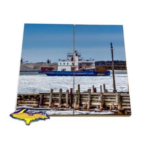 Great Lakes Coaster Puzzle Drummond Islander IV Detour Michigan Drink Coaster Set