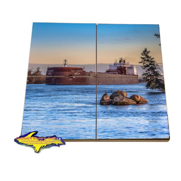 Great Lakes Freighter Paul Tregurtha Tile Puzzle Set Best freighter gifts for all boat lovers