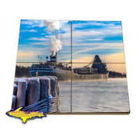 Great Lakes Freighter Saginaw Coaster Puzzle Lower Lakes Towing Gifts For Boat Fans