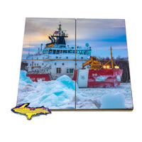Great Lakes Coast Guard Mackinaw Drink Coaster Set For Sale