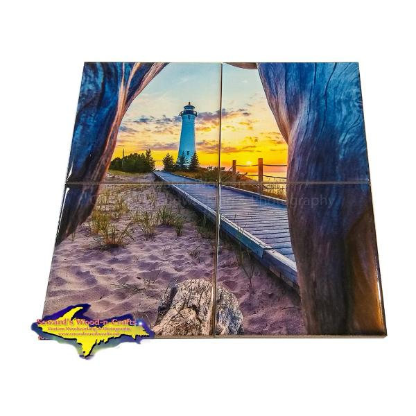 Crisp Point Lighthouse Puzzle Coasters Michigan's Upper Peninsula Yooper Gifts