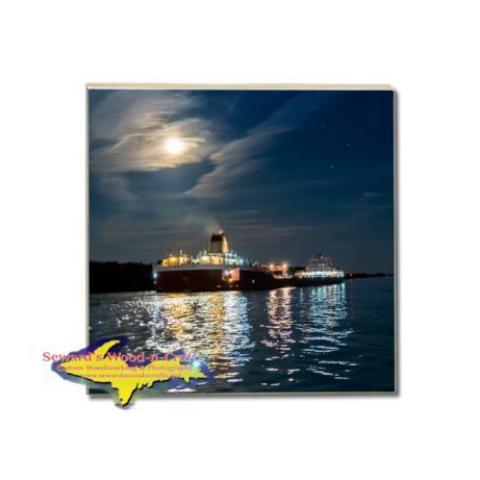 Great Lakes Fleet Roger Blough In The Moonlight Drink Coaster Gifts For Boat Fans