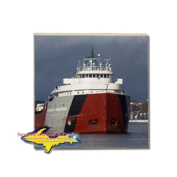 Arthur M. Anderson Lake Freighter Panoramic Coaster For Great Lake Fleet Gifts & Collectibles