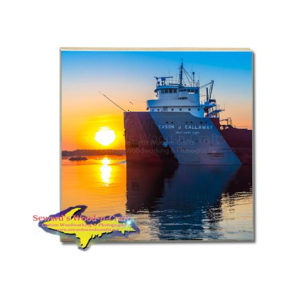 Great Lakes Fleet Freighter Cason J. Callaway Drink Coaster Build Your Own Coaster Set