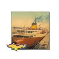 Edmund Fitzgerald Photo Coaster Great Lakes Freighter Gifts & Collectibles For Boat Fans