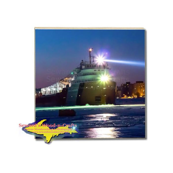 Great Lakes Fleet Freighter John G Munson Drink Coaster Gifts & Collectibles For Boat Fans