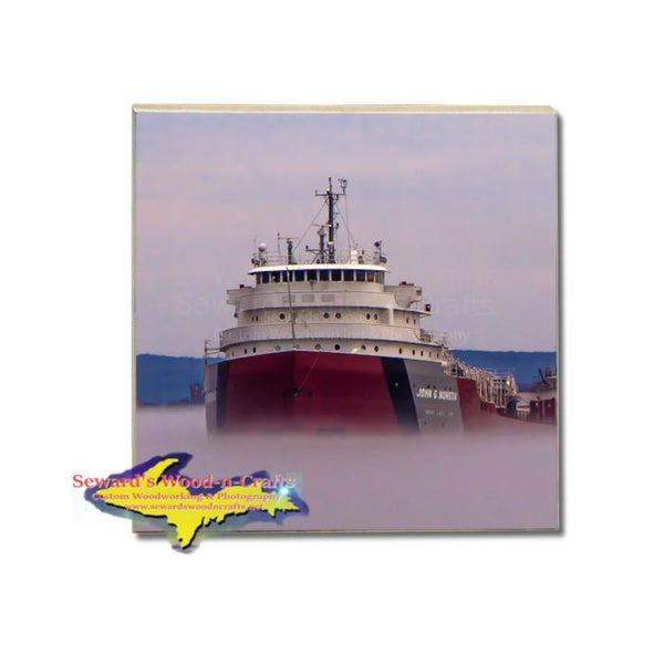 Single Drink Coaster Ship John Munson Great Lakes Frieghters memorabilia