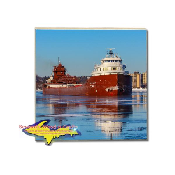 Great Lakes Freighter Kaye Barker Drink Coaster Interlake Steamship Company Gifts & Collectibles