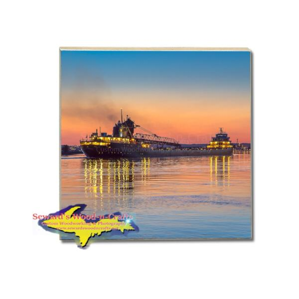 Great Lakes Freighter Tile Coaster Ship Kaye Barker For Boat Fans