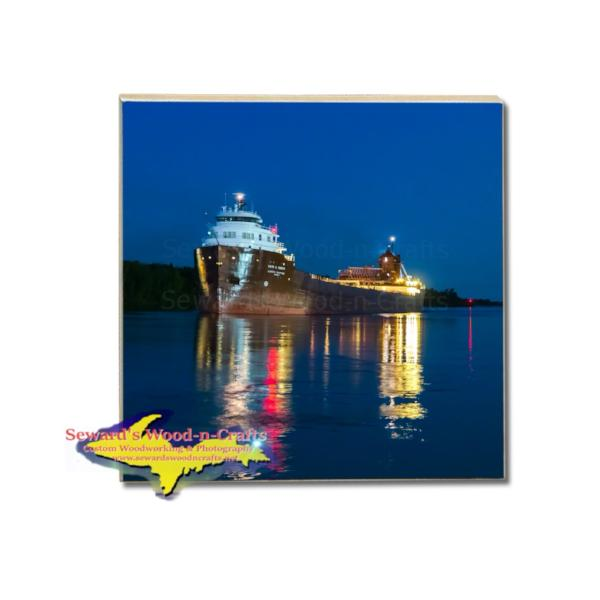 Great Lakes Freighter Kaye E. Barker Tile Drink Coasters! Great Lakes Marine Gifts & Collectibles For Ship Fans