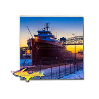 Soo Locks Lee A Tregurtha Drink Coaster Sault Ste. Marie Michigan Photography And Photo Gifts