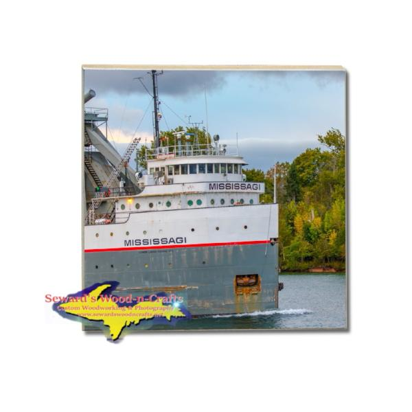 Drink Tile Coaster Great Lakes Freighter Mississagi Great Lakes Marine Gifts & Collectibles