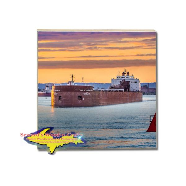 Drink Coaster Great Lakes Freighter Paul Tregurtha Interlake Steamship Company Gifts