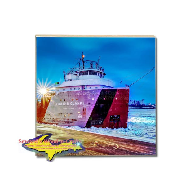 Great Lakes Fleet Freighter Philip Clark Coaster Best Great Lakes Marine Gifts & Collectibls