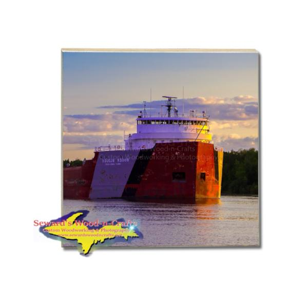 Drink Coaster Great Lake Freighter Roger Blough Great Lakes Nautical Gifts & Collectibles