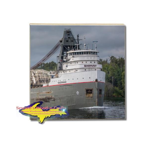 Great Lakes Freighter Saginaw Supply Boat Coaster & Trivets For Boat Fans