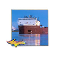 Drink Coaster Great Lakes Freighter Stewart J. Cort Gifts For Boat Fans