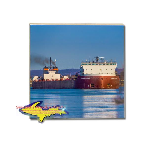 Great Lakes Freighter Stewart Cort Drink Coaster Great Lakes Nautical Gifts & Collectibles For Boat Fans