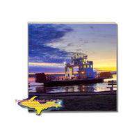 Drink Coasters Sugar Island Ferry Sunrise Ste. Marie Michigan Gifts And Collectibles