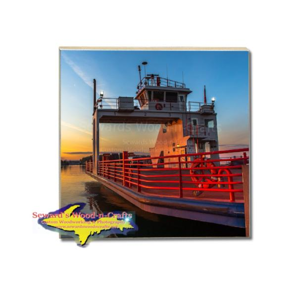 Michigan Made Drink Coasters Sugar Island Ferry Sunrise Gifts For Sugar Island