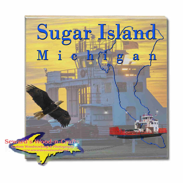 Michigan Made Coasters & Trivets Sugar Island Michigan Ferry Boat Upper Peninsula Photos & Gifts