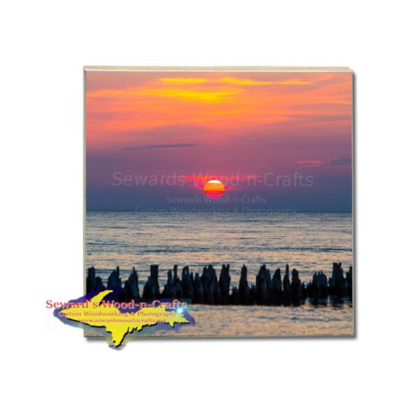 Michigan Made Drink Coasters Sunset Over Lake Superior Gifts And Artwork For Sale