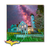 Michigan Made Drink Coasters Milky Way Point Iroquois Lighthouse Yooper Gifts