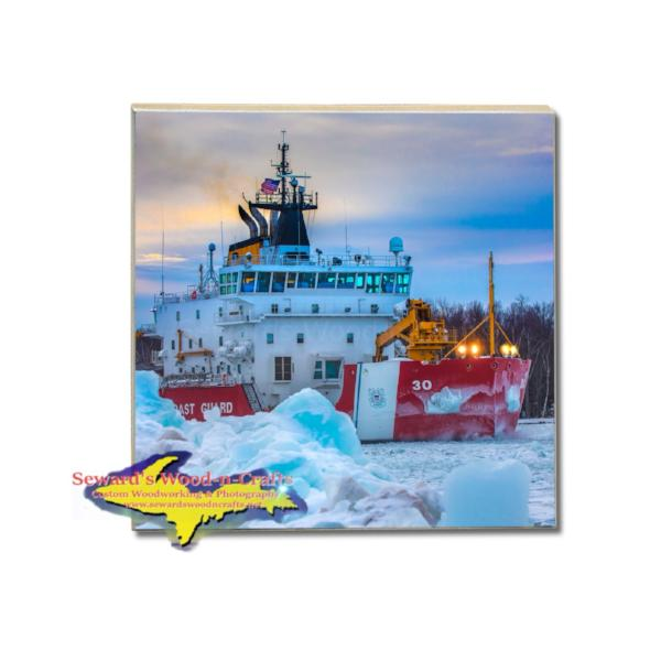 United States Coast Guard Cutter Mackinaw Drink Coaster For Sale