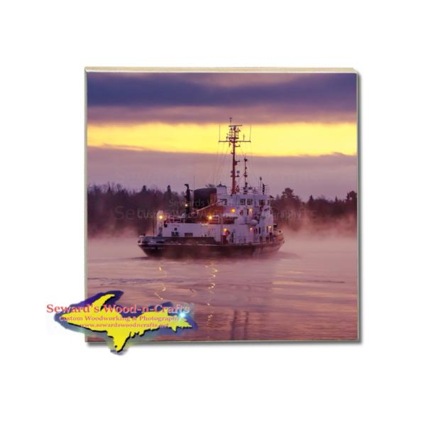 United States Coast Guard Cutter Biscayne Bay Drink Coaster St. Ignace Michigan Gifts For Great Lakes Coast Guard