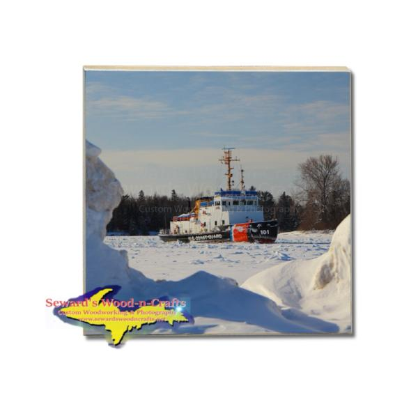 United States Coast Guard Cutter Katmai Bay Drink Coaster Sault St. Marie, Michigan Gifts & Collectibles