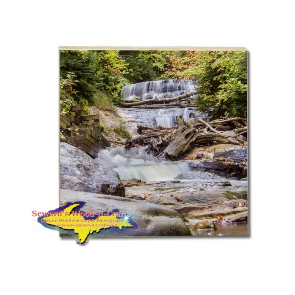 Drink Coaster Au Sable Waterfalls Grand Marais, Michigan Made Gifts And Home Decor