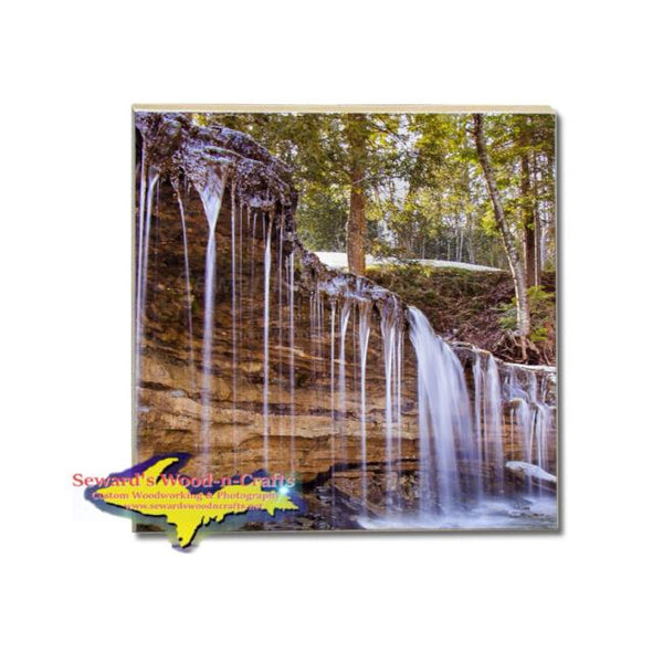 Michigan Waterfalls Drink Coaster Au Train Falls Munising, Michigan Made Gifts