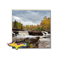 Drink Coaster Waterfalls Bonanza Falls Michigan's Upper Peninsula Gifts And Home Decor